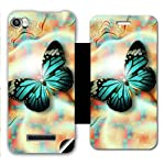 Skintice Designer Flip Cover with a hi res printed Vinyl Wrap around for Lava Iris X8, Design Green Butterfly