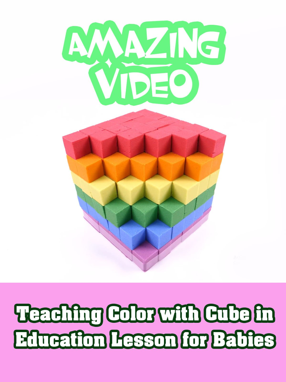 Teaching Color with Cube in Education Lesson for Babies