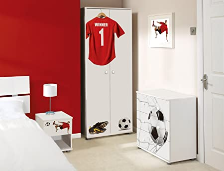 Red Football Design Childrens/Kids White Bedroom Furniture Sets