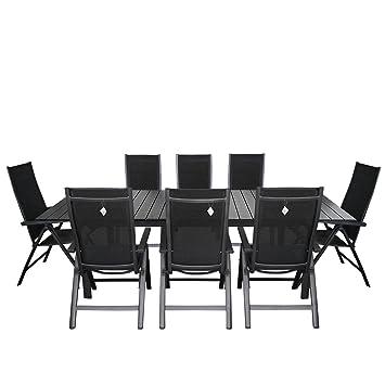 9tlg. Gartengarnitur Aluminium Gartentisch ausziehbar mit Polywood - Tischplatte 220/280x95cm Alu Hochlehner 4x4 Textilenbespannung Gartenstuhl mit 6-fach verstellbarer Ruckenlehne Sitzgruppe Sitzgarnitur Gartenmöbel Schwarz