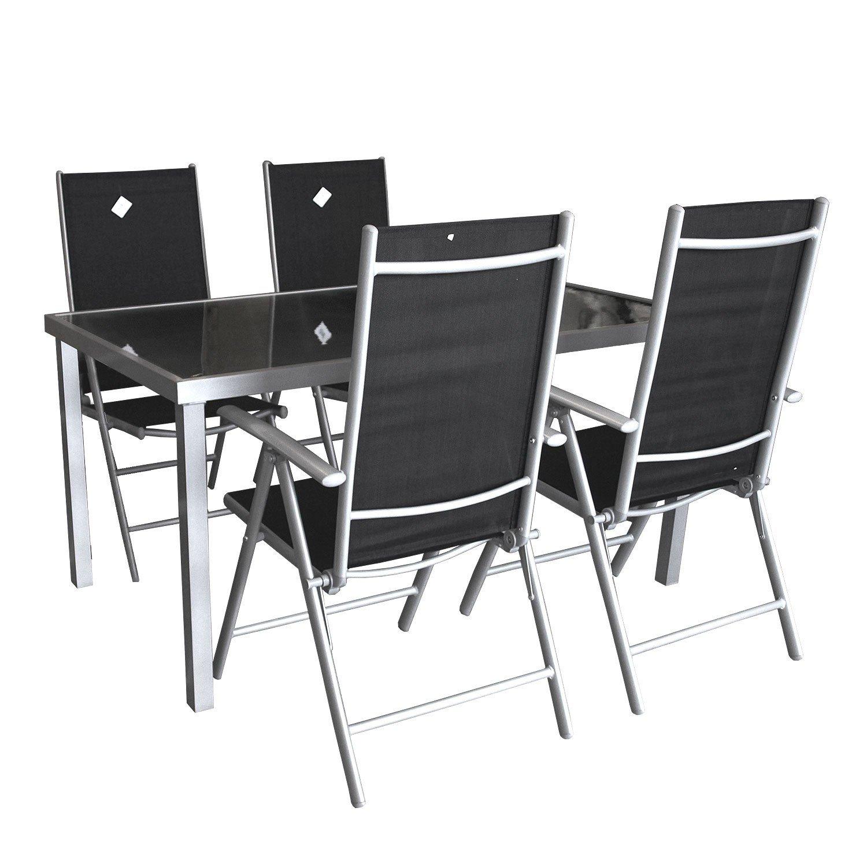 5tlg. Gartengarnitur Aluminium Glastisch 150x90cm + Hochlehner mit Textilenbespannung 7-fach verstellbar Sitzgarnitur Sitzgruppe - Silber / Schwarz