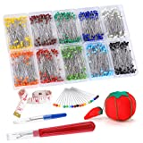 Pllieay 1000 Pieces Sewing Pins Multicolor Glass Ball Head Pin Straight Quilting Pins including Sewing Seam Ripper and Soft Tape Measure for Dressmaking Jewelry Components Flower Decoration with Trans
