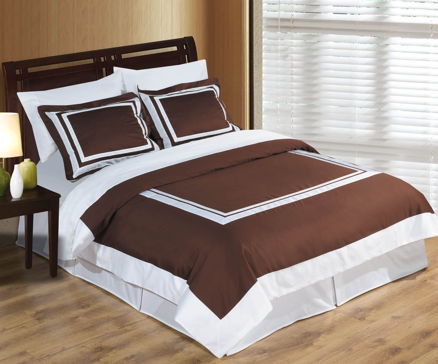 sheetsnthings 4PC Full/Queen size Chocolate with White Hotel bedding set including 3pc duvet cover set+ 1 pc Down Alternative Comforter at Sears.com
