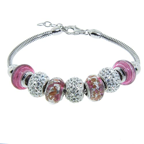 Italian Sterling Silver Bracelet with Colored Murano Glass Beads