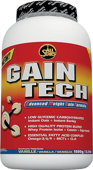All Stars Gain-Tech Weight Gainer, Vanille, 1er Pack (1 x 1500 g)