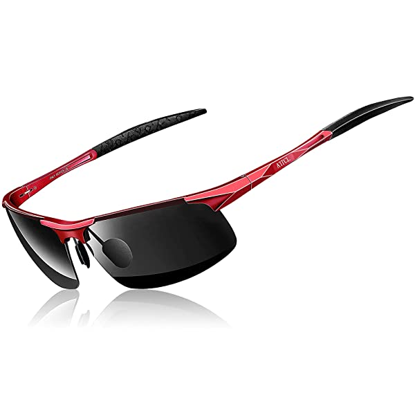ee21a3db1b6 ATTCL Men s HOT Fashion Driving Polarized Sunglasses for Men Al-Mg metal  Frame 8177Red-black (Color  ...