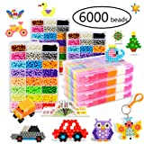 KACAGA Water Fuse Beads Kit 24 Colors 6000 Beads, Refill kit Compatible Beados Magic Water Sticky Beads Art Crafts Toys for Kids Beginners (6000+ Beads Complete Set) (Color: 6000 Pcs)