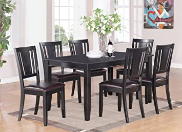 East West Furniture DULE7-BLK-LC 7-Piece Kitchen Room Table Set