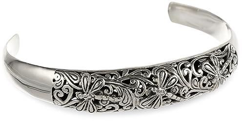 Sterling Silver Bali Inspired Filigree Dragonfly Design Cuff Bracelet