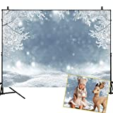 Mehofoto Winter Scene Backdrops for Photography White Snow Blue Bokeh Background 7x5ft Snow Tree Christmas Room Decoration Newborn Baby Portrait Photo Studio Prop (Color: Winter--Frozen, Tamaño: 7x5ft)