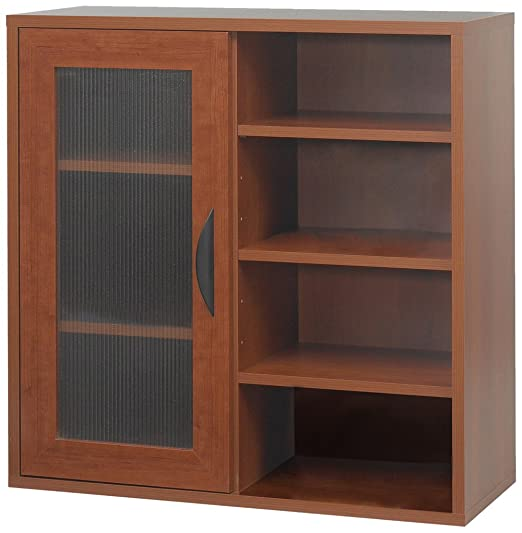 Safco Products 9444CY Apres Modular Storage Single Door/Open Shelves, Cherry