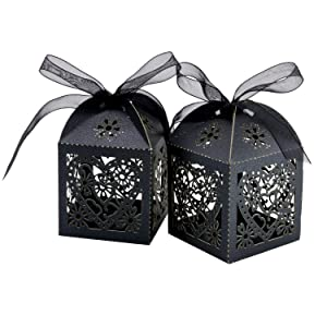 COTOPHER 100 Pack Love Heart Laser Cut Candy Boxes Wedding Party Favor Boxes Small Gift Boxes for Wedding Bridal Shower Baby Shower Birthday Party (100, Black) (Color: Black)