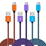 Embink USB Type C Cable, 3pcs 6Ft Type C to USB Fast Charging Cord Nylon Braided Cable for Samsung Note 8, Galaxy S8 Plus,Huawei Mate 9 P10,LG V30 G6,G5 (Color: Blue,purple,orange, Tamaño: 6 feet)