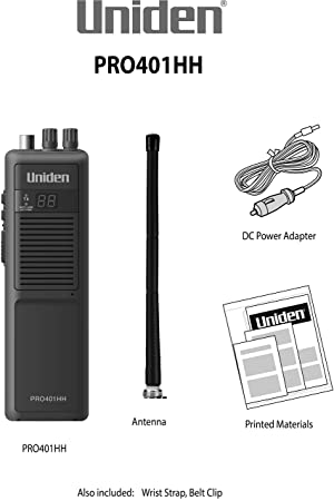 Uniden PRO401HH Professional Series 40 Channel Handheld CB Radio, 4 Watts Power with Hi/Low Power Switch, Auto Noise Cancellation, Belt Clip and Strap Included