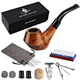 Joyoldelf Creative Wooden Tobacco Smoking Pipe Set with Gift Box, Rosewood Pipe with Pipe Cleaners and Other Smoking Accessories