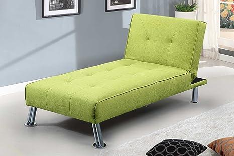 NEW YORK Chaise Longue 1divano letto in tessuto verde o grigio by Sleep Design, Tessuto, Verde, One_seats