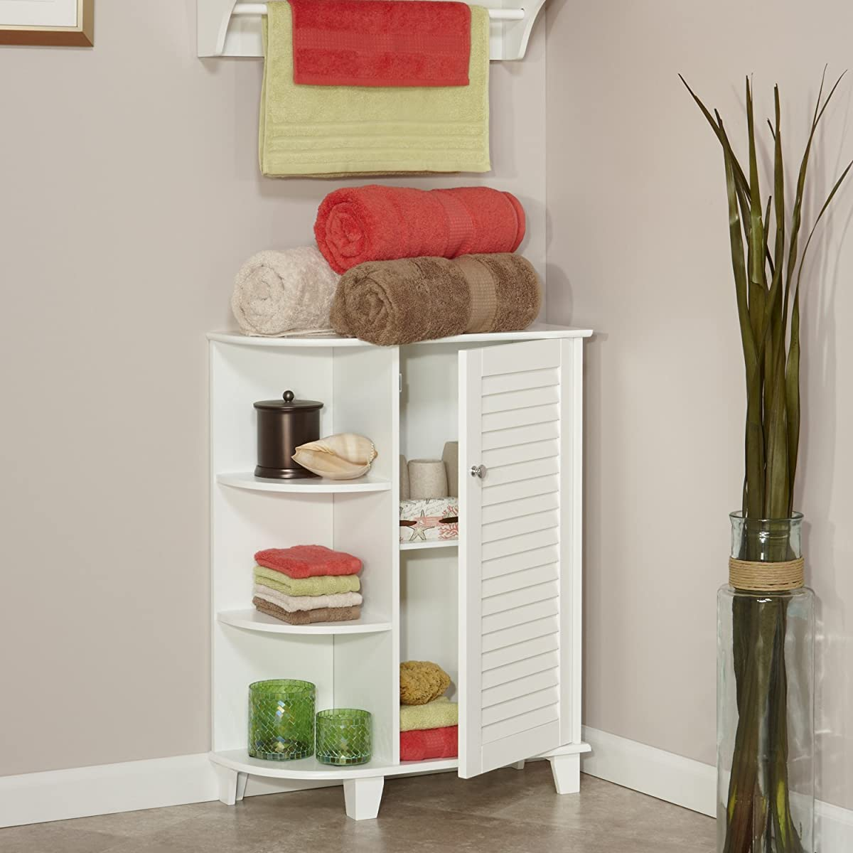RiverRidge Home Ellsworth Floor Cabinet with Side Shelves, White