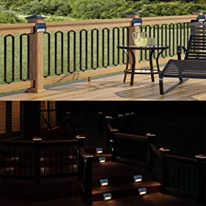 Solar LED Lights for Deck Steps Pathway Yard Stairs Fences, Outdoor Waterproof, 6 Pack (Color: Black Case Warm Light-6 Pack)