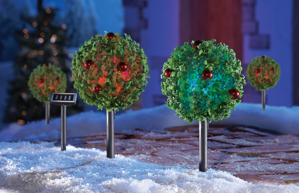 Solar Holiday Topiaries Outdoor Christmas Path Stakes