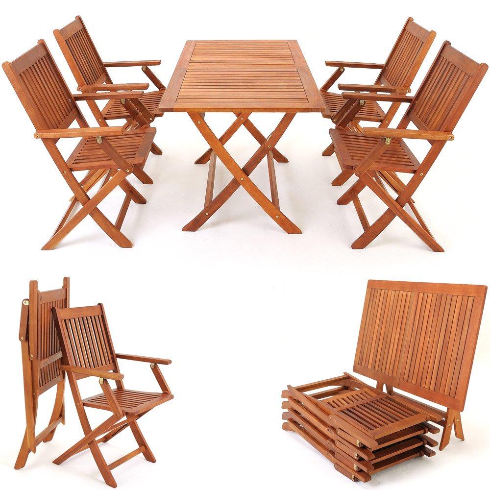 5tlg Sitzgarnitur SYDNEY Akazienholz Sitzgruppe Essgruppe Gartengarnitur Gartenmöbel Gartenset kaufen