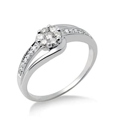 Miore Diamond Flower Ring, 9 ct White Gold, 1/3 carat Diamond Weight