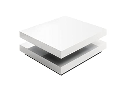 Couchtisch Hugo - Hochglanz weiß - obere Platte drehbar - Maße in B/T/H: ca. 75x75x30 cm