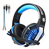 Beexcellent GM-2 Surround Sound Gaming Headset, Over Ear Noise Cancelling Headphones with Mic and LED Light, Stereo PC Headset for VR, Computer Game, PS4, Xbox One, iPad, Phone, Laptop Nintendo Switch (Color: Blue)