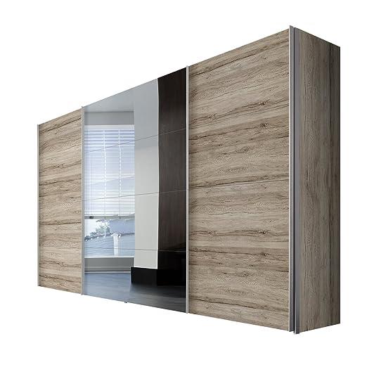 Solutions 49850-160 Schwebeturenschrank 3-turig, Korpus und Front an Remo-eiche light, Spiegel, Griffleisten alufarben, 68 x 350 x 216 cm