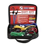 ROCKET STRAPS | 24PC Heavy Duty Bungee Cords With Hooks | Bungee Cord Set Includes | Tie Downs | Ball Bungees | Carrying Bag | 50/50 Latex & Rubber Bungee Cords For Extreme Strength