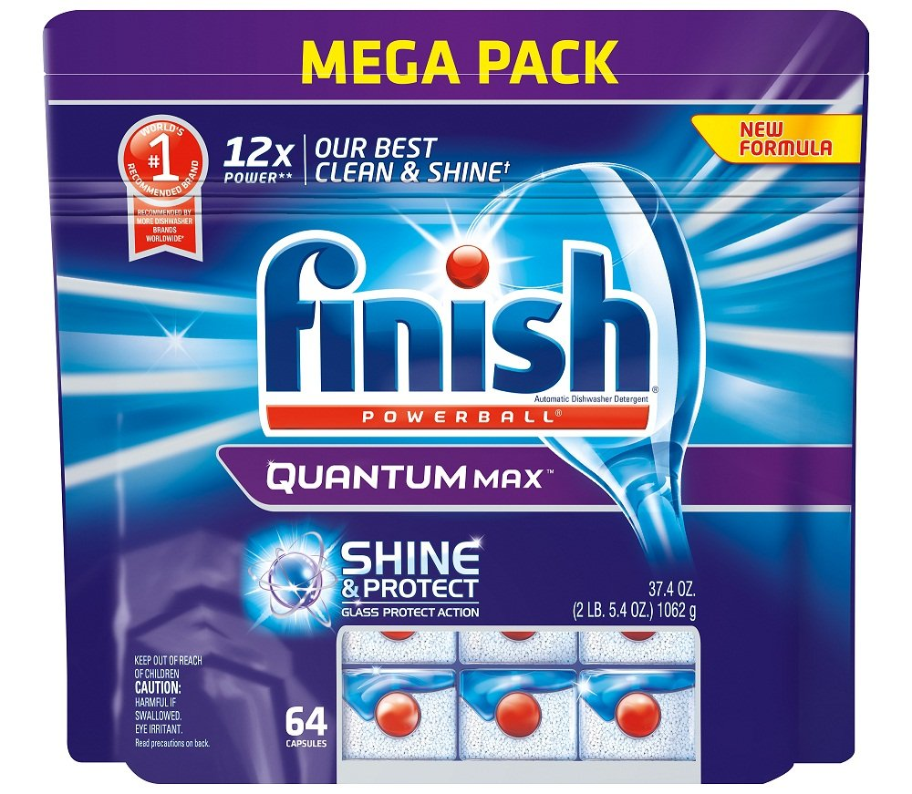 Finish Quantum Max Shine and Protect Dishwasher Detergent Tablets, Fresh Scent, 64 Count