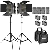 NEEWER BI-COLOR LED VIDEO LIGHT AND KIT DE SOPORTE CON BATERÍA Y CARGADOR-660 LED, con soporte en U y Barndoor (3200-5600K, CRI 96), 3-6.5 pies de soporte de luz ajustable para estudio, disparo de YouTube (paquete de 2)