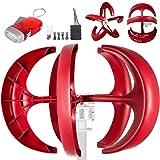 Happybuy Wind Turbine 600W 12V Wind Turbine Generator Red Lantern Vertical Wind Generator 5 Leaves Wind Turbine Kit with Controller No Pole (600W 12V, Red) (Color: Red, Tamaño: 600W 12V)