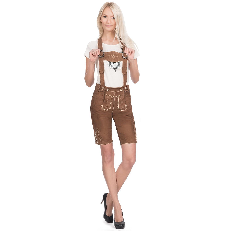 Damen Trachten Lederhose kurz in hellbraun aus Ziegenveloursleder verfügbar in Größe 34 bis 46 günstig online kaufen