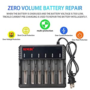 WolfonFire 18650 Battery Charger 6 Slot Universal Smart Li-ion Batteries Charger for AA 2665O, 1865O, 17670, 18490, 175OO, 17335, 1634O(RCR123) (Tamaño: Only Charger)