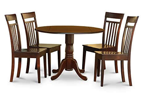 East West Furniture DLCA5-MAH-W 5-Piece Kitchen Nook Dining Table Set