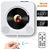 CD Player with Bluetooth, Govee Portable CD Player with Remote Control Wall Mountable CD Player with Screen FM Radio HiFi Speaker CD Music Player Supports USB, SD Card Aux Input Output 6 Playing Modes (Color: white)