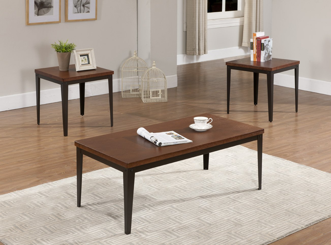 3 Pc Metal Frame With Cherry Finish Wood Top Coffee Table 2 End Tables New Ebay