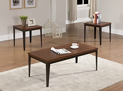 King's Brand 3 Pc. Metal Frame With Cherry Finish Wood Top Coffee Table & 2 End Tables Occasional Set