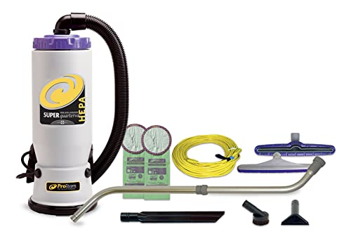 ProTeam Commercial Backpack Vacuum Cleaner, Super QuarterVac HEPA Vacuum Backpack with Commercial Home Kit, 6 Quart