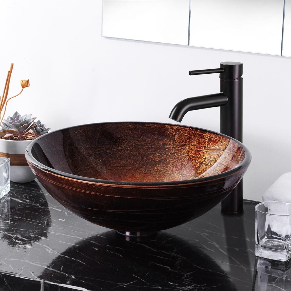 Glass Vessel Bowls : Bowl Basin Spa Modern Bathroom Round Artistic Tempered Glass Vessel ...