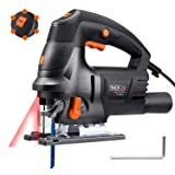 Jigsaw, Tacklife Upgraded 6.7 Amps 3000 Rpm Jig Saw with Laser Guide, Variable Speed, Double Bevel Cutting(0-45°), Vacuum Pipe, Ideal for Cutting Wood, Plastic, Aluminium - PJS04A