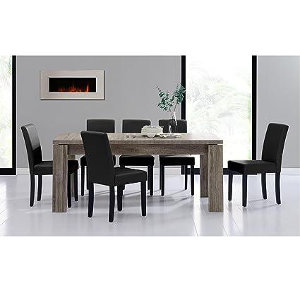 "[en.casa] Set de comedor mesa ""Helsinki"" (antigua - 180x95) 6 sillas (tapizadas - negro) - set ahorro"