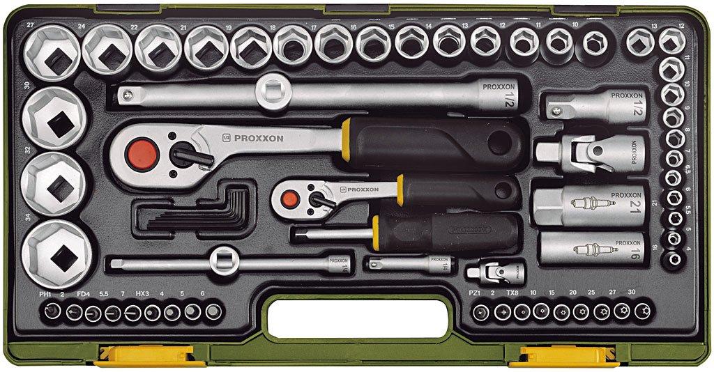 Proxxon 23286 Steckschlüsselsatz mit Knüppelratschen 1/4 Zoll und 1/2 Zoll, 65teilig  BaumarktÜberprüfung und Beschreibung