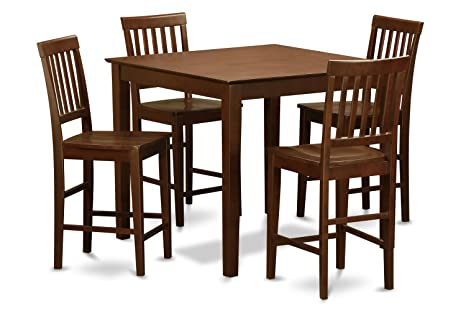East West Furniture EWVN5-MAH-W 5-Piece Counter Height Dining Table Set