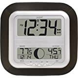 La Crosse Technology WS-8418U-IT Atomic Digital Wall Clock with Moon Phase (Color: Black)