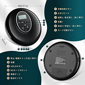 Walkman CD Player wowatt Portable Discman CD Player Personal Compact Disc Player with LCD Display Stereo Headphones Jack USB Charging Anti-Skip/Shockproof Music CD Player for Home Car & Travel Black (Color: Black)