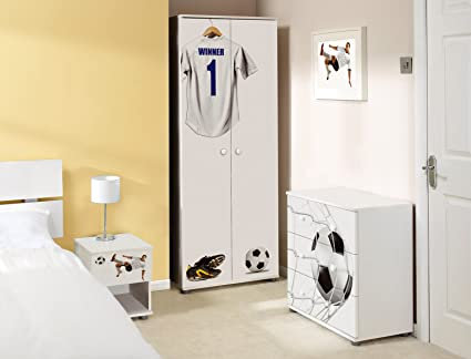 White Football Design Childrens/Kids White Bedroom Furniture Set