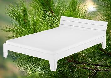 60.54-12 W M Modernes Massivholzbett Kiefer weiß 120x200 cm mit Matratze und Rollrost