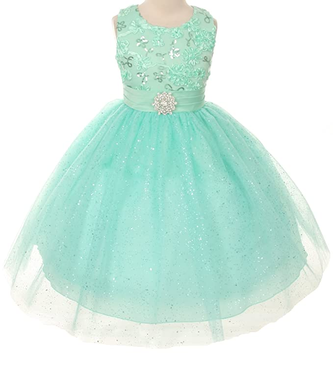 Floral Embroidered Sparkly Sequin Big Girls' Flower Girl Dress Bridesmaid