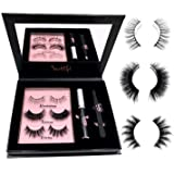 3D Mink Fur Lash Set: 3 Pairs Long Lasting Lashes - Glue - Cruelty free - Tweezers & Mirror | Winged Natural & Dramatic Reusable Eyelashes | Latex-Free Adhesive & Applicator ? Handmade Up to 20 Wears (Tamaño: Black)